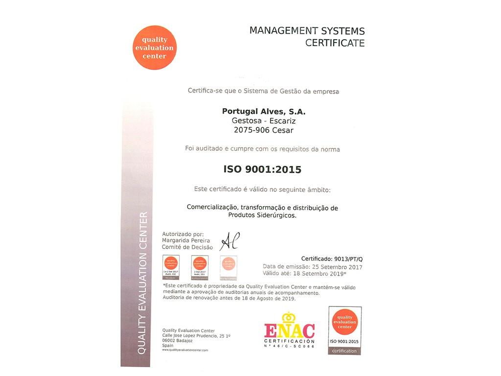 Certificado NP EN ISO 9001:2015